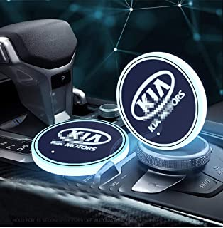2pcs LED Car Logo Cup Holder Lights for Kia, 7 Colors Changing USB Charging Mat Luminescent Cup Pad, LED Interior Atmosphere Lamp Decoration Light. (kia)