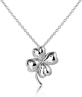 WithLoveSilver 925 Sterling Silver Charm Four Leaf Lucky Clover Good Luck Pendant, Necklace 18