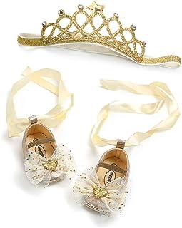JOYKK Toddler Baby Girls Sole presepe Scarpe Neonato Pizzo Bow Princess Shoes + Fascia 2PPeeces Baby Set Neonato - Oro