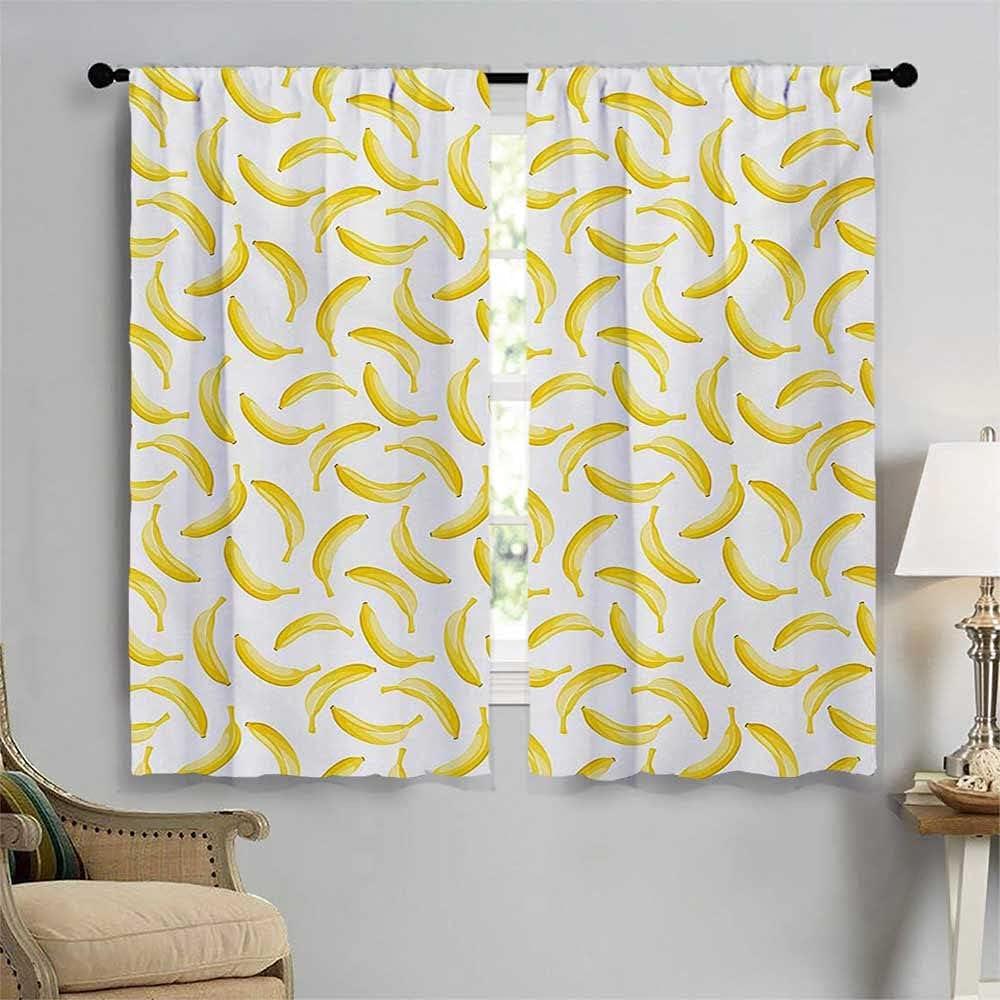 Yellow and White Room Award Darkening Style P Curtains store Bananas Cartoon