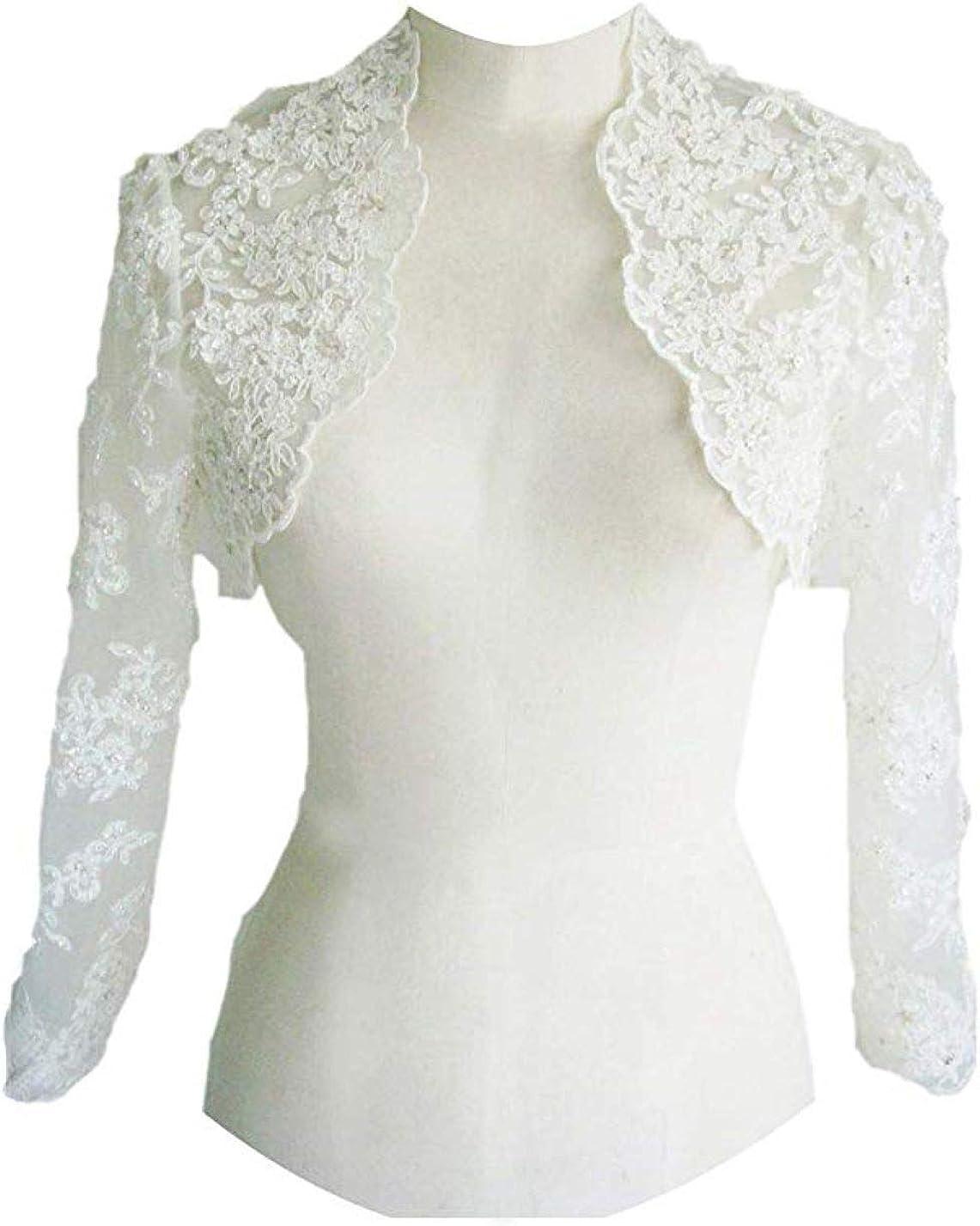 Iluckin Women's Wedding Bridal Bolero Jackets Open Neck Wraps for Bride With Long Sleeves Ball Lace