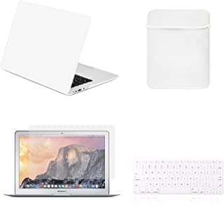 TOP CASE - 4 in 1 Essential Bundle Hard Case, Keyboard Cover, Sleeve Bag, Screen Protector Compatible MacBook Air 13