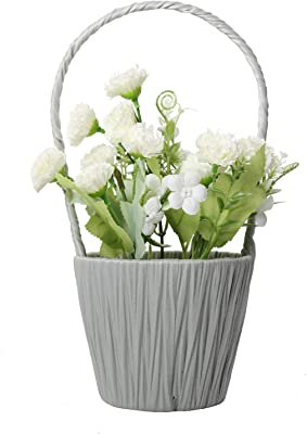 SAROSORA Artificial Flowers in Basket Hanging Fake Carnation Faux Plants for Birthday Wedding Festival Indoor Home Decoration (Light Green, White Basket)