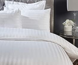 Lenzuolo con angoli elasticizzati, 100% cotone egiziano 300fili, in raso bianco a righe, White, Singolo