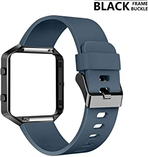 AIUNIT Compatible Fitbit Blaze Band Frame, Replacement for Fitbit Blaze Large Bands Accessories Wristband Watch Sport Strap for Fitbit Blaze Smart Tracker Women Men Teens(Slate Band & Black Frame)