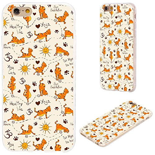 iPhone 6s Case,iPhone 6 Case,VoMotec [Original Series] Shockproof Anti-Scratch Slim Flexible Soft TPU Protective Skin Cover Case for iPhone 6 6s 4.7 inch,Funny Cartoon Animal Orange Cute Cat Pet Yoga