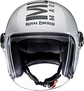 Royal Enfield Gloss Silver Open Face with Visor Helmet Size (M)57 CM (RRGHEL000055)