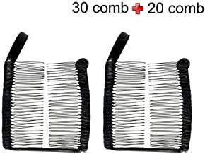 4Clovers 2Pcs Large Banana Clip for Thick Hair Women, Elastic Double Combs Make Great Hair Accessories for Kinky, Curly Hair Works for Faux Hawks, Braids & Dreadlocks (Black)