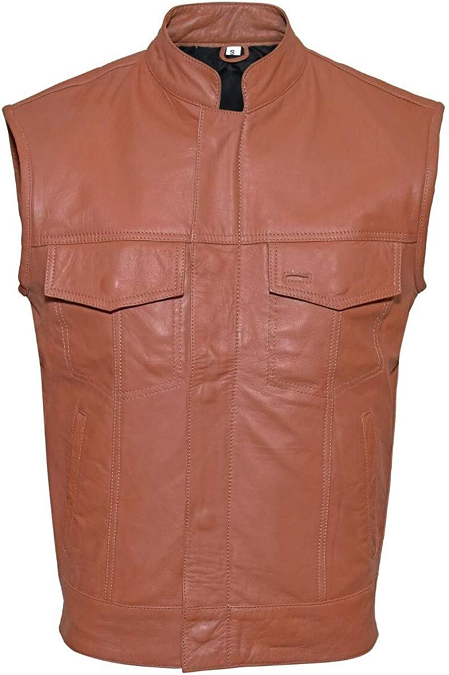 Men`s Motorcycle Biker Orange Vest Genuine Cowhide Leather Black Concealed Carry