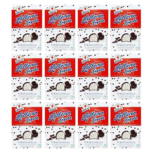 12er Pack Original Halloren Kugeln Stracciatella (12 x 125 g) Hallorenkugeln Halloren Schokolade