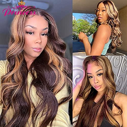 Pelucas de cabello humano con frente de encaje resaltado, peluca frontal de encaje con ondas de cuerpo peruano pre desplumado rubio miel para mujeres