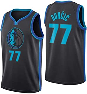 King-mely Hombre Ropa de Baloncesto NBA Dallas Mavericks 77 Doncic Jersey Camiseta de Baloncesto da Bordado Transpirable y Resistente al Desgaste Camiseta para Fan