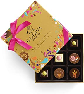 Godiva Chocolatier Chocolate Festival Gift Box, Chocolate Assortment, Gourmet Chocolate, Chocolate Gifts, 9 pc, 4 Ounce