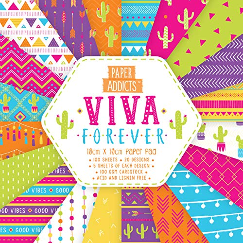 Paper Addicts PAPAD054 Viva Forever 10cm x 10cm Paper Pad-100 Sheets-20 Designs-100GSM-Acid & Lignin Free-For Card Making, Papercraft, Scrapbooking, Die Cutting and Home Décor, MultiColor, One Size