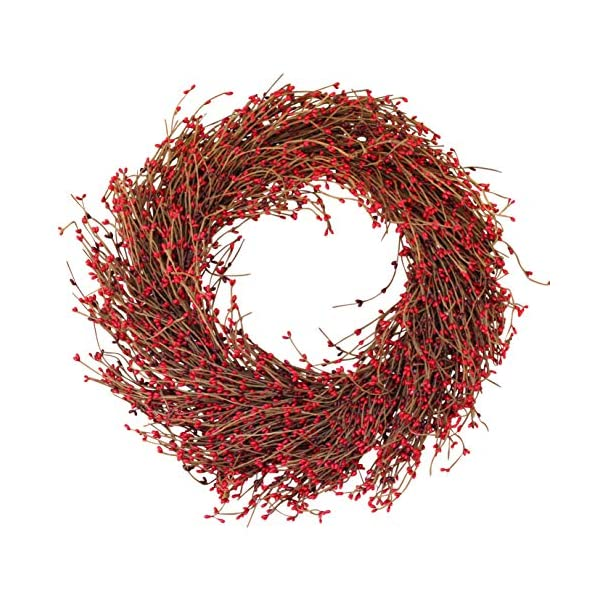 The Wreath Depot Northville Red Pip Berry Wreath, 22 Inches, Designer Quality Full Berry Wreath Enhances Front Door for Christmas and Winter Seasons