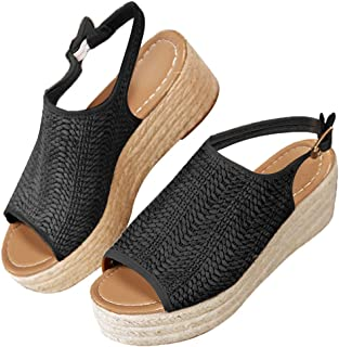 a1dc7a98fdfd3 Blivener Espadrille Wedge Sandals Casual Summer Peep Toe Slingback Platform  Sandals Shoes