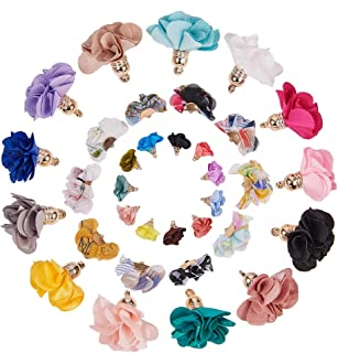 SUNNYCLUE 60pcs 3 Style 3D Cloth Flower Charms Pendants Fabric Floral Petal Tassel with Metal Caps Key Chain for Jewelry Making
