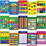 15 Educational Posters, Alphabet, Shapes, Colors, Numbers 1-100, Multiplication Table, Days of The Week, Months of The Year,Money,Emotions,Human Body,Time,Opposites,Seasons,Weather,Animals