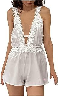 LICKLIP Sleep Romper Lace V Neck Stretchy Waist Teddy Pajama Jumpsuit Women