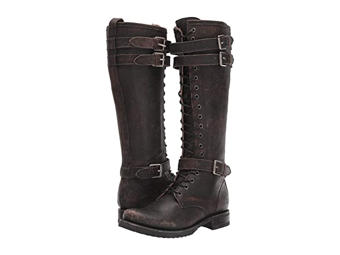 Vintage Boots- Winter Rain and Snow Boots History Frye Veronica Buckle Combat Tall Black Brush Off Full Grain Leather Womens Boots $299.99 AT vintagedancer.com