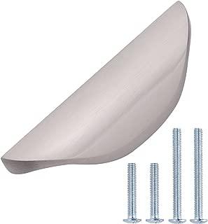 AmazonBasics Modern Finger Drawer Pull Knobs, 3.08 Inch Length, 1.26 Inch Hole Center, Satin Nickel, 10-Pack