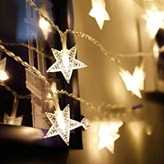 HuTools Twinkle Star Lights 16.5ft 50 Star LED Lights Fairy Lights Battery Operated String Lights for Bedroom Star Lights for Patio Summer Night Outdoor Decor Teepee Lights for Tent(Warm White)