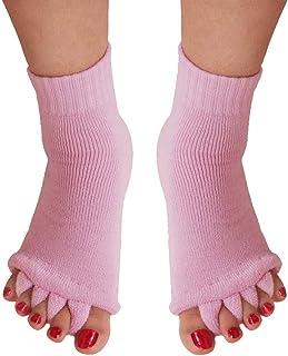 Cinco deportes unisex del dedo del pie Separador dedos del pie Calcetines alineación del pie Calcetines aliviar el dolor de pies