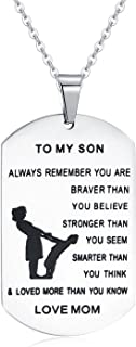 Inspirational Gifts Jewelry Matte Stainless Steel Pendant Necklace Letter Tag Birthday Gifts from Dad for Son Mens Boys Family – Always Remember You Are Braver Stronger Smarter Than You Think