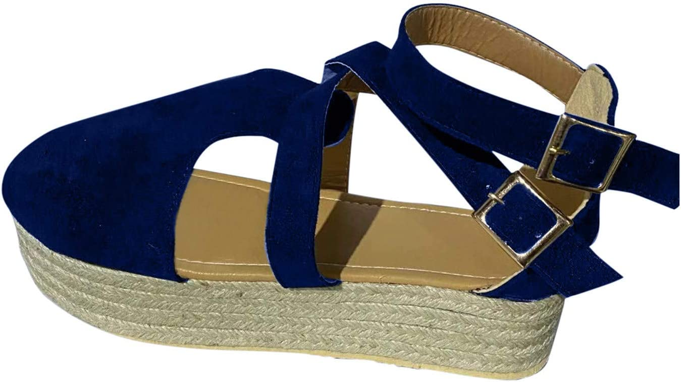 PLENTOP Womens Directly managed store OFFicial Espadrille Platform Elastic We Toe Closed Strappy