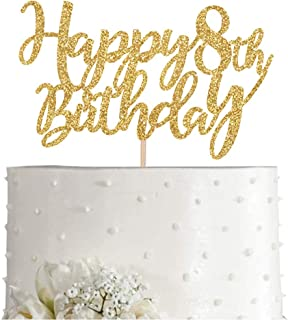 Gold Glitter Happy 8th birthday cake topper, Gold 8 years old birthday party decorations, girl or boy birthday cake toppers