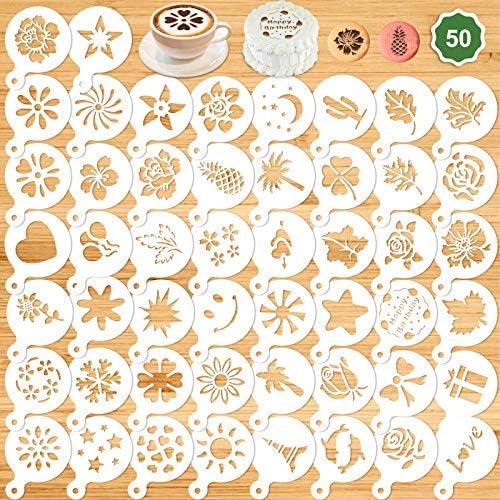 Konsait 50Pack Cake Stencil Templates Decoration Reusable Cake Cookies Baking Painting Journal product image