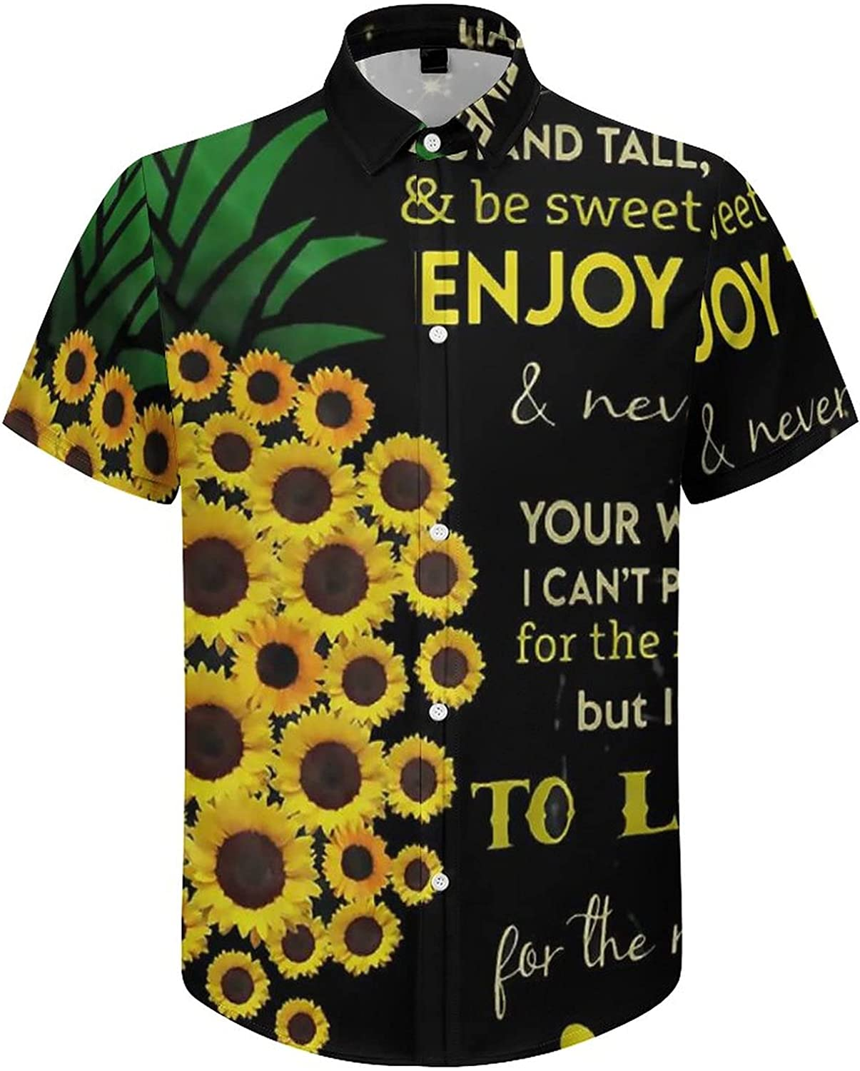 Men's Regular-Fit Short-Sleeve Printed Party Holiday Shirt to My Daughter Sunflower Pineapple