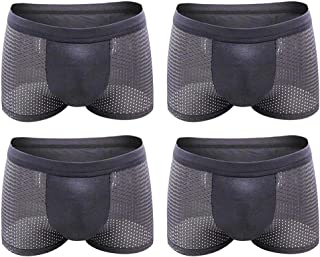 Aiweijia 4 Pack Mens Underwear Brief Multipack Soft Mesh Breathable Solid Color Boxer Shorts