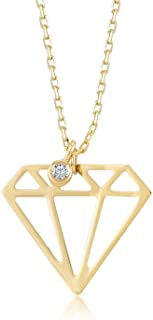 Gelin 14k Solid Gold 0,01 ct Diamond Shaped Geometric Triangle Pendant Necklace for Women - A Perfect Surpise Gift for Her, 18 inc