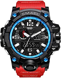 SMAEL Military Watch - Fashion Men's Sports Analog Quartz Watch Dual Display Waterproof Digital Watches LED Backlight Alarm Large Face Electronics Military Watch (Blue Circle & Red band)