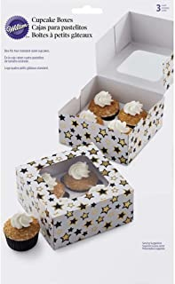 Wilton 415-1632 Black and Gold Stars Cupcake Boxes, 3 Count