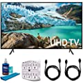Samsung RU7100 LED Smart 4K UHD TV 2019 Model with Universal Screen Cleaner for LED TVs Large Bottle, SurgePro 6-Outlet Surge Adapter & 2X HDMI Cable