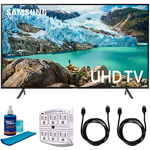 Samsung 55' RU7100 LED Smart 4K UHD TV 2019 Model (UN55RU7100FXZA) with Universal Screen Cleaner for LED TVs Large Bottle, SurgePro 6-Outlet Surge Adapter & 2X HDMI Cable