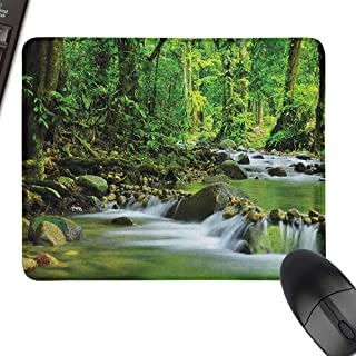 Mouse Mat Rainforest Mountain Stream in a Tropical Rain Forest Foliage Countryside Wilderness Scene for Office, Gaming, Learning,15.7