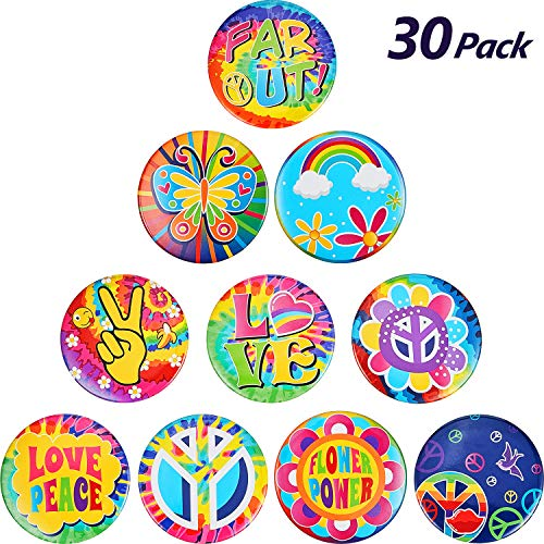 30 Pieces Hippie 60's Party Button Pin Retro 60s Button Pin for Hippie Costume Accessory