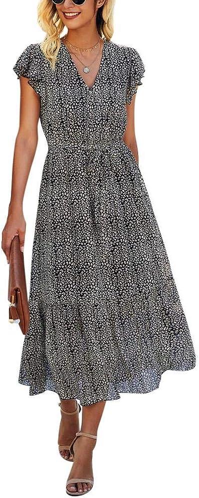 Womens Wrap Slim Midi Dress Vintage V-Neck Split Long Dresses Summer Tie Straps Sleeveless Puff Sleeve