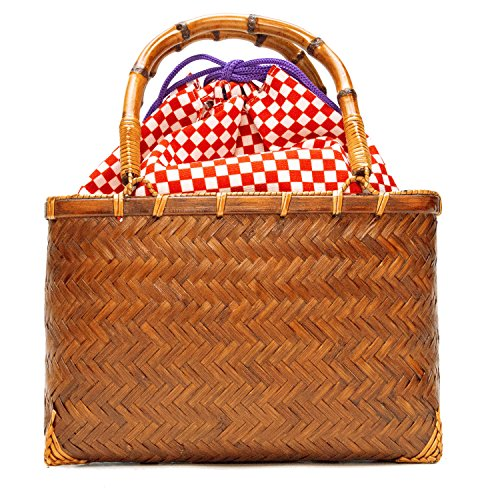 KYOETSU(キョウエツ) バッグ かごバッグ 浴衣 kg-04 レディース (かご-茶×1.赤市松)
