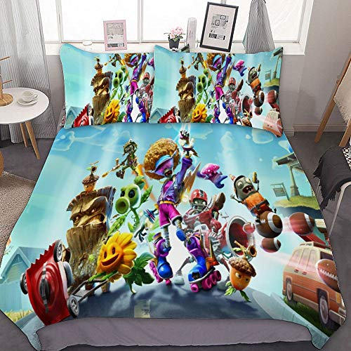 SfeatrutMAT Duvet Cover Set Queen Size 80'x90',Video Game Plants Vs. Zombies,Luxury Bedding Set Comforter Cover 1 Duvet Cover and 2 Pillowcases