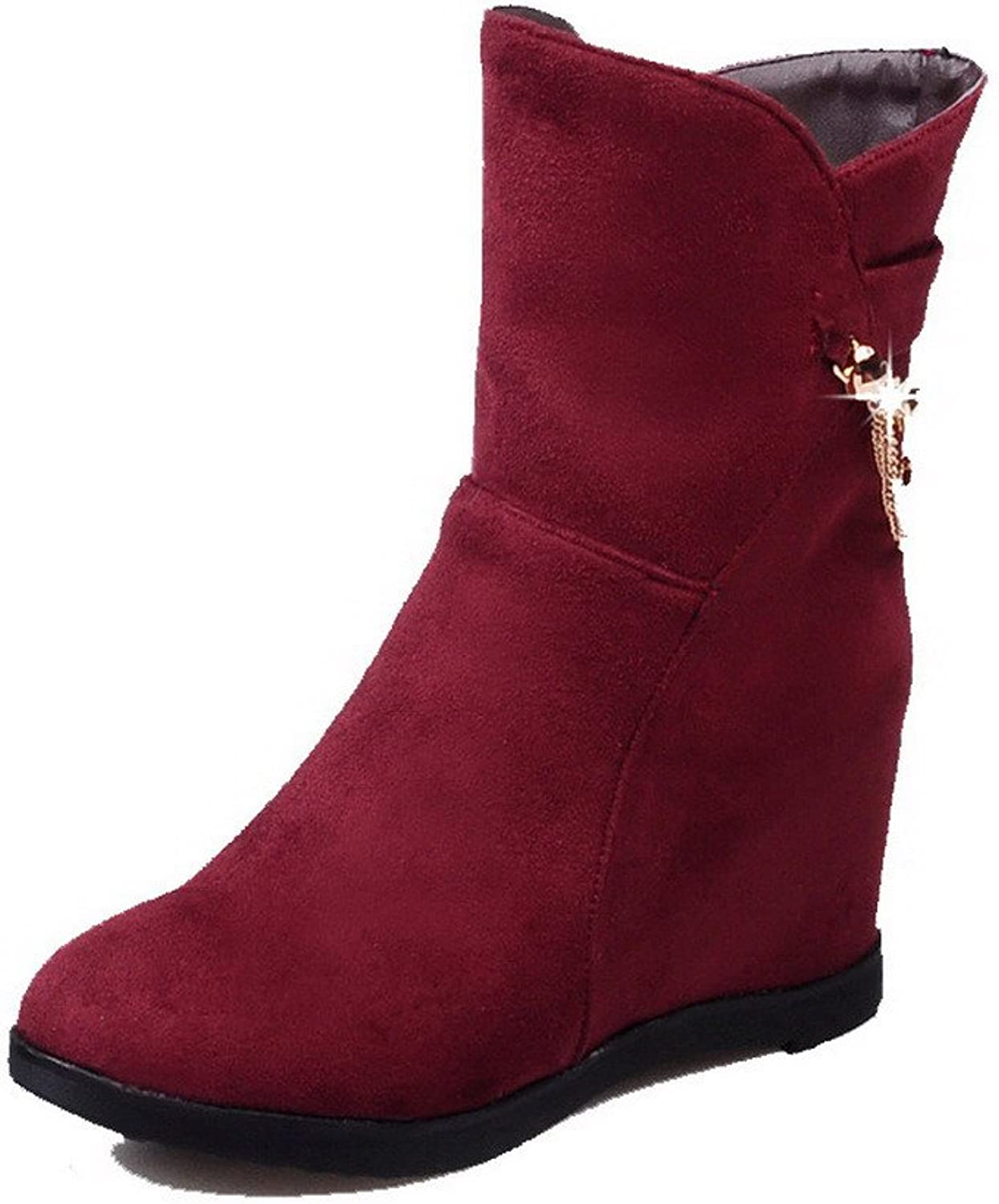 AmoonyFashion Women's Round Closed Toe High-Heels Frosted Low-top Solid Boots