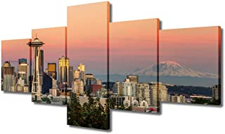 5 Piece Canvas Wall Art - Seattle Washington Cityscape Skyline with Sunny Sky - Modern Home Decor Mount Rainier Space Need...
