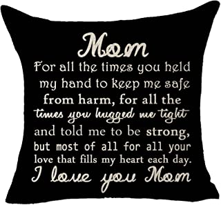 FELENIW Best wishes to mom I Love you mom Throw Pillow Cover Cushion Case Cotton Linen Material Decorative 18x18 inches