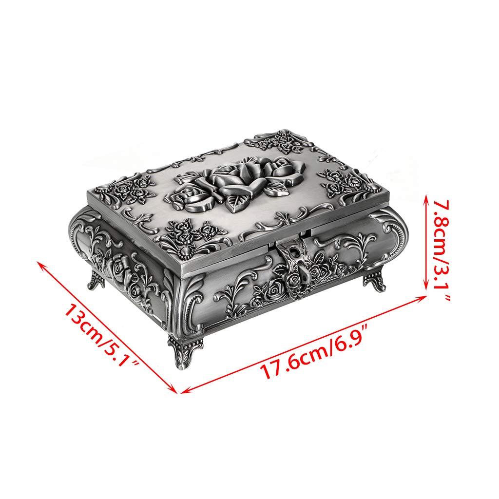 Sumnacon - Joyero de metal vintage para anillos, collares, pendientes, baratijas, organizador de almacenamiento, caja de recuerdo, color plateado envejecido, rectangular: Amazon.es: Bricolaje y herramientas