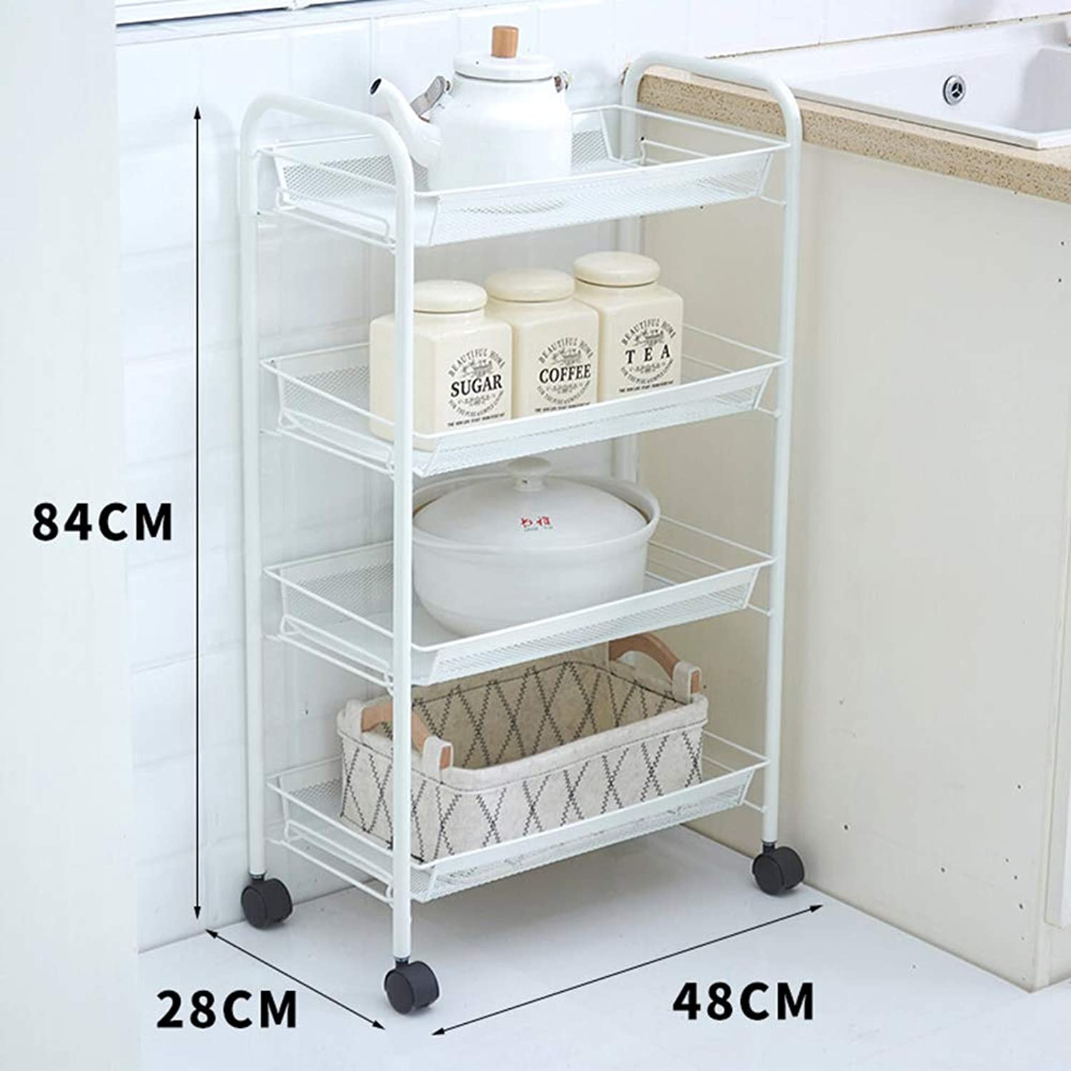 Rolling Storage Service Trolley Cart, Kitchen Bathroom Living Room Trolley Rack, Wrought Iron Thickened Bedroom Storage Rack with 4 Wheels, 3 Tiers   4 Tiers White max Load 99kg
