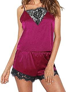 DIOMOR Women Sleepwear Sleeveless Strap Nightwear Lace Trim Satin Cami Top Pajama Sets Valentine's Day Present Gift