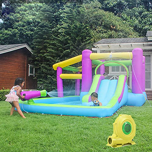 Bounce House & Inflatable Water Slide - Bounce House Water Slides with Blower for Kids Outdoor Backyard, Playground Sets for Backyards, Water Gun & Splash Pool,Outdoor Blow Up Water Park for Backyard
